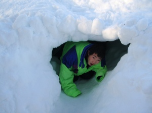 Scout in a snow cave